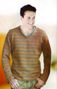 Мужской пуловер в полоску V-образным вырезом