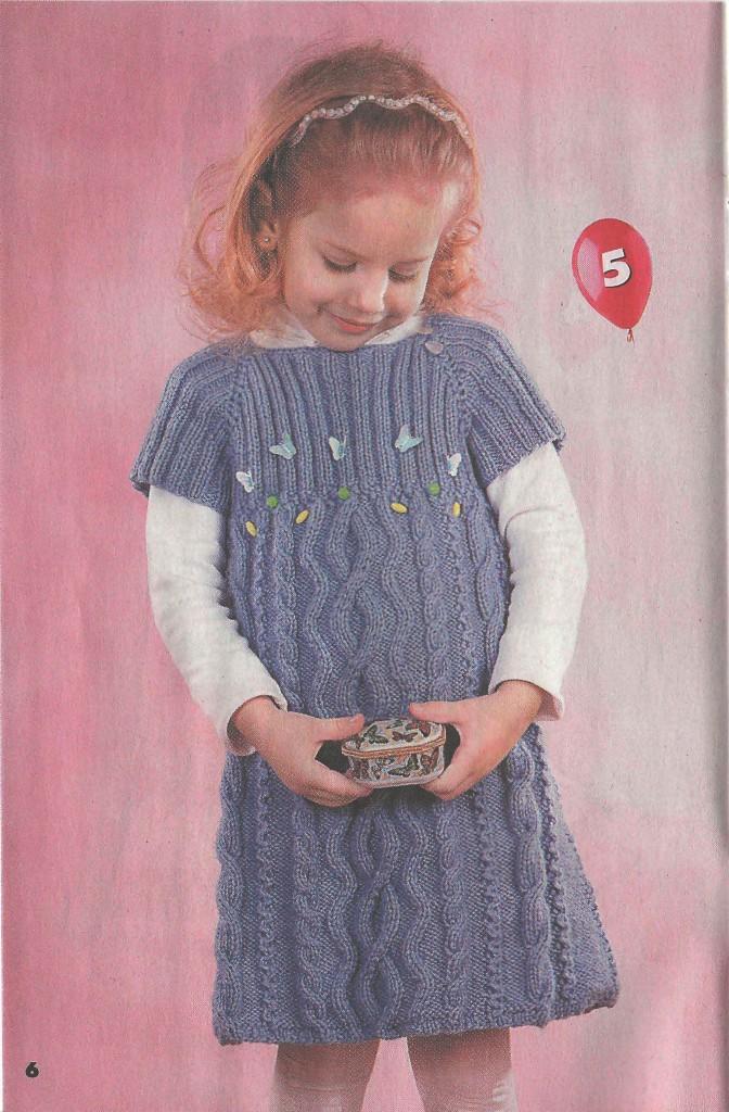 Розовое платье для девочки связать