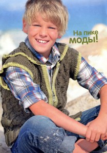 Жилет с капюшоном для мальчика 6-10 лет (вязание на спицах)