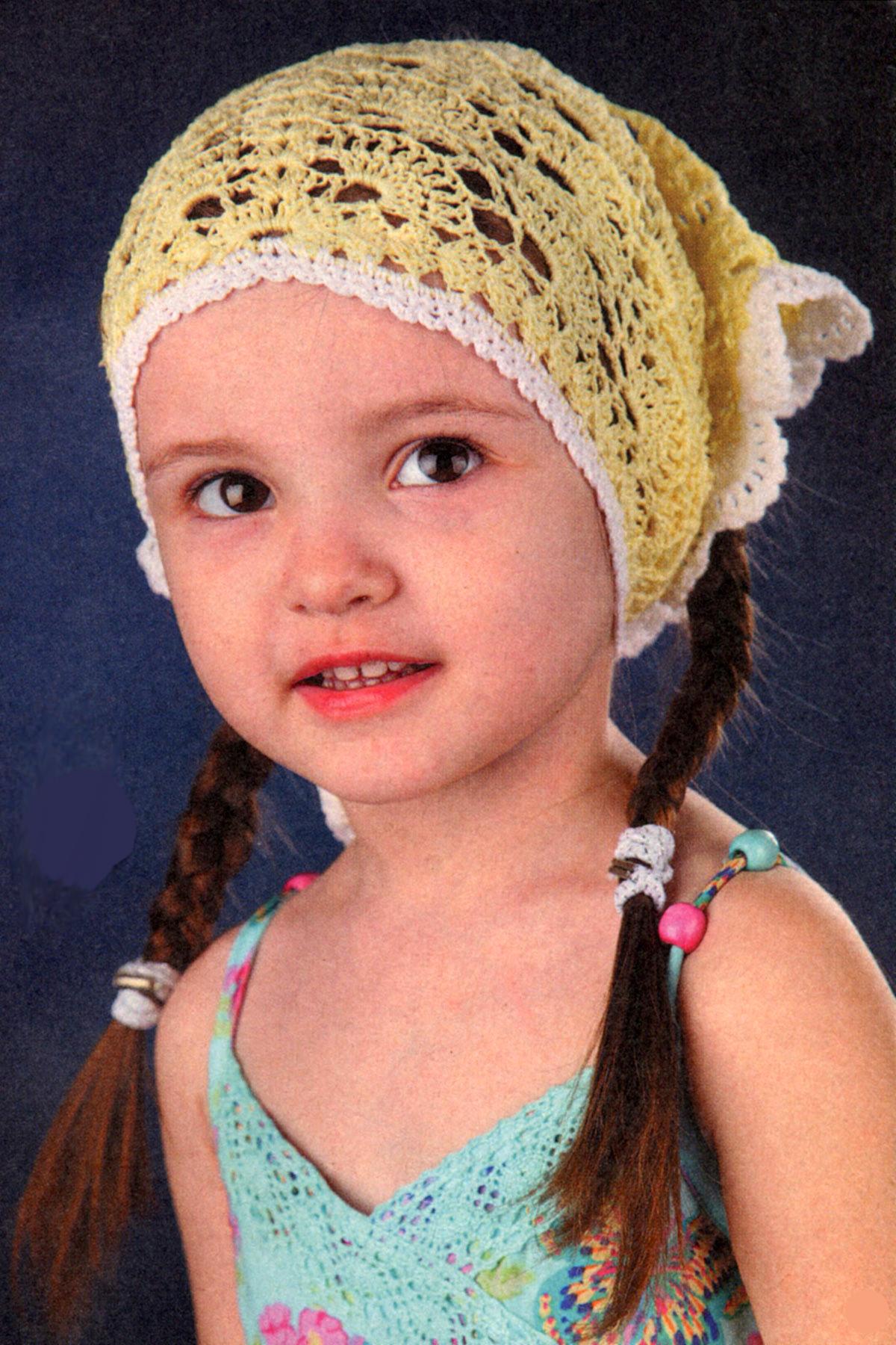 Вязаные детские шапочки и косынки