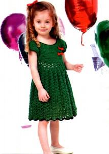 Летнее платье для девочки 6-7  лет крючком