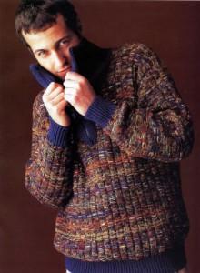 Мужской свитер с молнией в воротнике