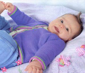 Жакет реглан для малыша (Вязание на спицах)