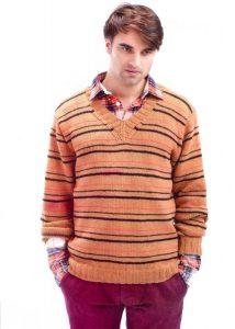 Мужской пуловер в полоску (вязание на спицах)