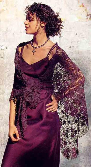 Шаль вишневого цвета (вязание