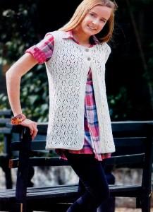% Безрукавка для девочки 12 14 лет (Вязание на спицах)