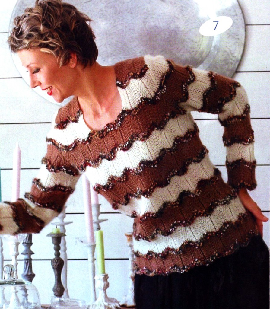 % Пуловер с волнистым узором (Вязание на спицах)
