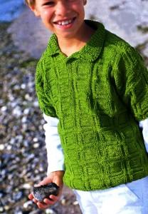 Кофточка  с короткими рукавами для мальчика 5-7 лет (Вязание на спицах)