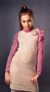 Платье-сарафан для девочки на 9-10 лет (Вязание крючком)