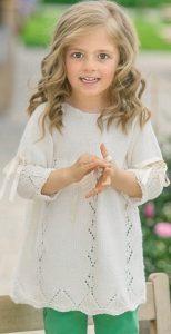 Туника спицами для девочки (вязание на спицах)