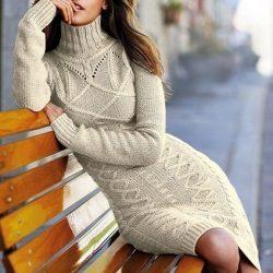 Вязаное платье спицами Victoria's Secret (Вязание спицами)