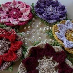 Очень красивый вязаный цветочный мотив (Вязание крючком)