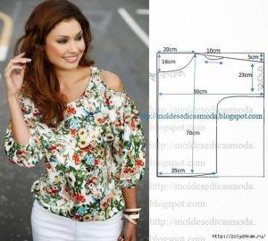 Выкройка блузки с открытыми плечиками (Шитье и крой)