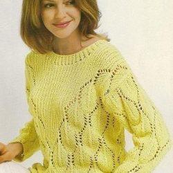 Пуловер с v-образной кокеткой (Вязание спицами)