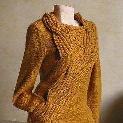 Пуловер цвета горчицы (Вязание спицами)