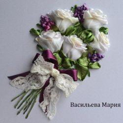 Мастер- класс по вышивке лентами «Букета белых роз»