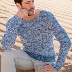 Серо-голубой мужской пуловер (Вязание спицами)