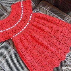 Веерное платье девочке (Вязание крючком)