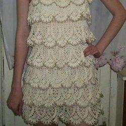 Каскадное платье (Вязание крючком)