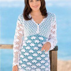 Пуловер с завышенной талией (Вязание крючком)