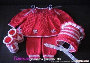 Детское платье и пинетки (Вязание спицами)