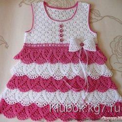 Красивое платье для девочки (Вязание крючком)