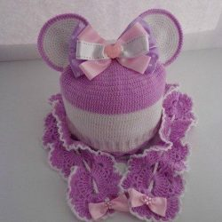Шапочка и шарфик для девочки «Минни Маус» (Вязание крючком)