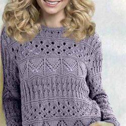Ажурный пуловер с полосами из зигзагов (Вязание спицами)