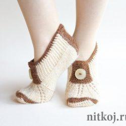 Тапочки носочки (Вязанные спицами)