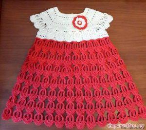 Детское платье крючком «Перо Ангела» (Вязание крючком)