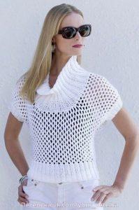 Белый пуловер сеточка (Вязание спицами)