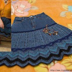 Джинсовая юбка + юбка крючком (Вязание крючком)