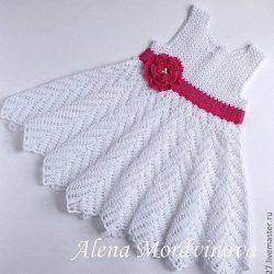 «БЕЛОЕ ЧУДО» вязаное платье для девочки (Вязание крючком)