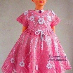 Платье для девочки «Фламинго» (Вязание крючком)