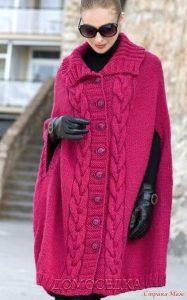Пальто-пончо с разрезами вместо рукавов  (Вязание спицами)