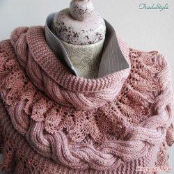 Стильный и женственный шарф — снуд Стефания (Вязание спицами и крючком)