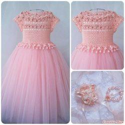 Сказочное платье для девочки (Вязание крючком)