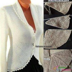 Жакет платочной вязкой (Вязание спицами)