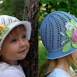 Шляпки-панамки для девочек (Вязание крючком)