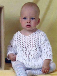 Белое платье для малышки (Вязание спицами)