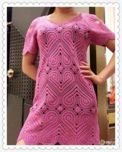 Платье сердечками (Вязание крючком)