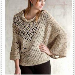 Стильный пуловер  (Вязание крючком)