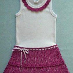 Превращаем майку в красивое платьице для девочки (Вязание крючком)