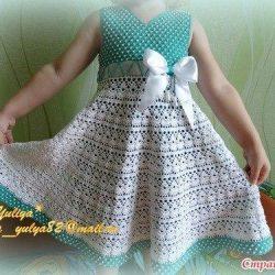 Платье для девочки «Жемчужина» (Вязание крючком)