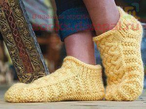 Носки-тапочки «Мокасины» (Вязание спицами)