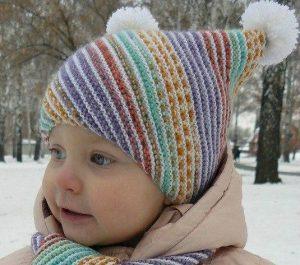 Детская шапочка и шарфик «По диагонали» (Вязание спицами)