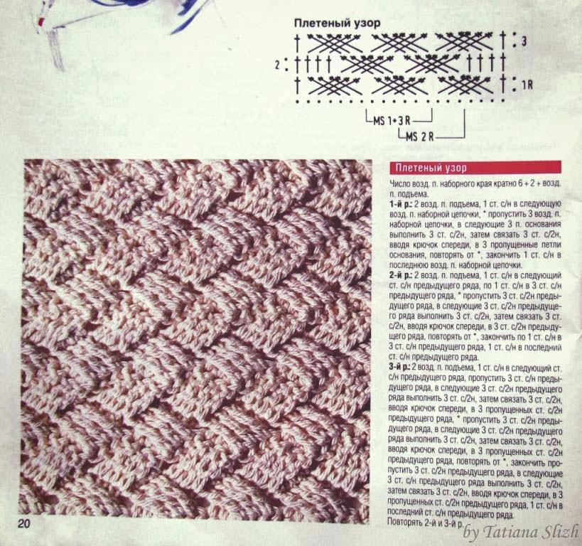 крючком узоры плетенка