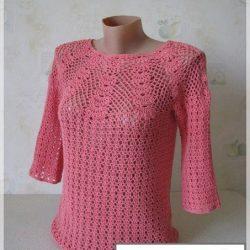 Блузка с круглой кокеткой (Вязание крючком)