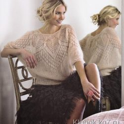 Очень красивая мохеровая блуза (Вязание спицами)