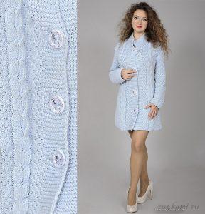 Голубое пальто (Вязание спицами)